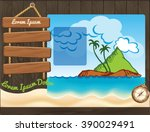 cartoon travel template with... | Shutterstock .eps vector #390029491