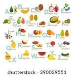 fruits abc vector set. exotic... | Shutterstock .eps vector #390029551