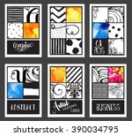 set of vintage graphic cards  ... | Shutterstock .eps vector #390034795