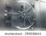 Close up of steel bank vault...