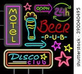 neon signboard disco club  beer ... | Shutterstock .eps vector #390040495