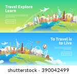 travel to world. landmarks on... | Shutterstock .eps vector #390042499