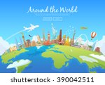 travel to world. road trip.... | Shutterstock .eps vector #390042511