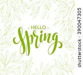 words spring with wreath ... | Shutterstock .eps vector #390047305
