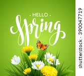 inscription spring time on... | Shutterstock .eps vector #390047719