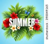 summer tropical background of... | Shutterstock .eps vector #390049165