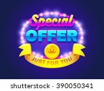 retro sign with lamp special... | Shutterstock .eps vector #390050341