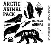 set arctic animal silhouettes... | Shutterstock .eps vector #390050404