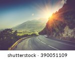view of the road bend and a... | Shutterstock . vector #390051109