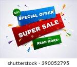 super sale paper banner. sale... | Shutterstock .eps vector #390052795