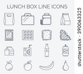 set of linear lunch icons.   | Shutterstock .eps vector #390063325