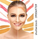 contouring.make up woman face....   Shutterstock . vector #390069709