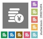 yen coins flat icon set on...