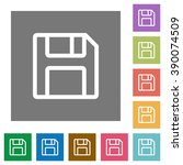 save flat icon set on color...