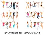 people celebrating isolated   | Shutterstock . vector #390084145