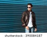 male fashion model wearing... | Shutterstock . vector #390084187
