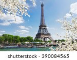 eiffel tour over seine river... | Shutterstock . vector #390084565