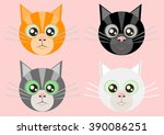 art cat set vector | Shutterstock .eps vector #390086251