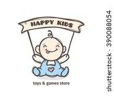 vector cute baby logo in sketch ... | Shutterstock .eps vector #390088054