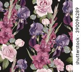 floral seamless pattern with... | Shutterstock . vector #390096289