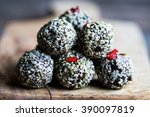 raw candies made of dates nuts... | Shutterstock . vector #390097819