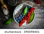 green detox smoothie with... | Shutterstock . vector #390098401
