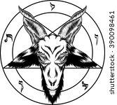 pentagram with baphomet. binary ... | Shutterstock .eps vector #390098461