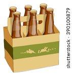 six bottles in a cardboard box... | Shutterstock .eps vector #390100879