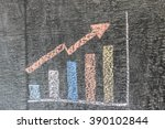 business chart on blackboard... | Shutterstock . vector #390102844