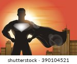 superhero standing with cape... | Shutterstock .eps vector #390104521
