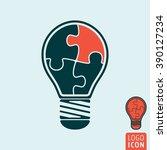 light bulb icon.jigsaw puzzle...