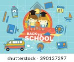 boy and girl back to school...   Shutterstock .eps vector #390127297