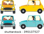 cute people driving a small car ... | Shutterstock .eps vector #390137527