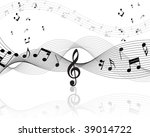 musical notes staff background... | Shutterstock . vector #39014722