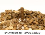 Small photo of pile of yellow coins scattered in disarray on a white background