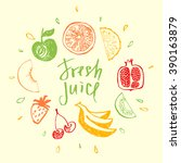 fresh juice.design element for... | Shutterstock .eps vector #390163879