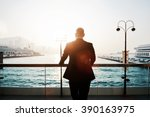 back view of a male proud ceo... | Shutterstock . vector #390163975