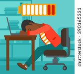 employee sleeping at workplace. | Shutterstock .eps vector #390165331