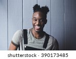 portrait of a happy young... | Shutterstock . vector #390173485