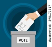 concept of voting. hand putting ... | Shutterstock .eps vector #390173917
