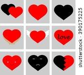 set  hearts for your design   Shutterstock .eps vector #390175225