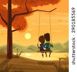 Two Lovers Sitting On Swing At...