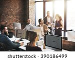 business team discussion...   Shutterstock . vector #390186499