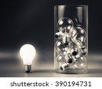 white light bulb glowing... | Shutterstock . vector #390194731