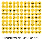 great set 99 yellow emotion... | Shutterstock .eps vector #390205771