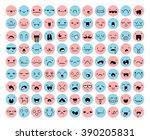 great set 99 pink  blue emotion ... | Shutterstock .eps vector #390205831