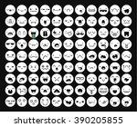 great set 99 white emotion...   Shutterstock .eps vector #390205855