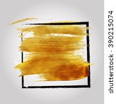 gold brush stroke poster | Shutterstock .eps vector #390215074