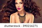 beautiful model brunette with... | Shutterstock . vector #390216271
