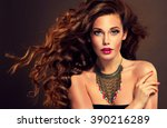 beautiful model brunette with... | Shutterstock . vector #390216289